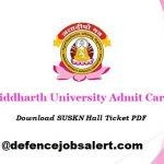 Siddharth University Admit Card