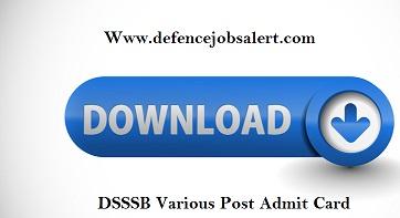 DSSSB Various Post Admit Card