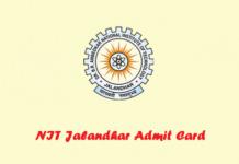 NIT Jalandhar Admit Card