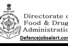 Directorate of Food & Drugs Administration Goa Recruitment