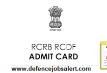 RCRB RCDF Admit Card